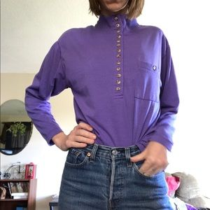 Vtg 90s oversized purple mock neck top